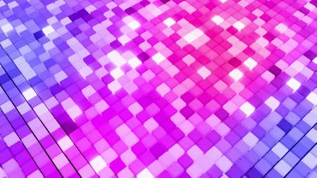 3d render. 3d abstract dark geometric bg with blue red cubes flash with neon light randomly. Cubes form a flat structure. Creative simple motion design bg with 3d objects.