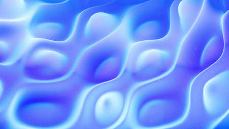 Beautiful abstract 3D surface with glitter sparkles, abstract 3d waves on surface. Blue gradient, soft matte material with light inner glow. 3d render