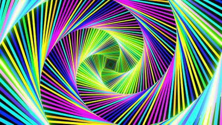 3d render. Abstract festive background with square frames form a complex structure flashing neon lights. Amazing beautiful bg.