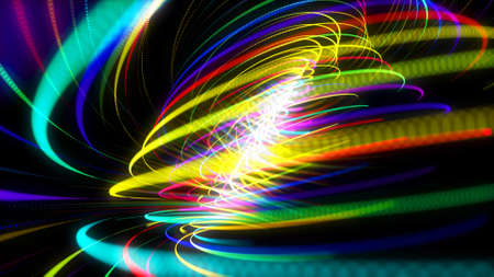 3d render. Abstract background with multicolor light streaks, light and bokeh effects. Neon lines made of particles form curve structure or twisted pattern. Spiral.
