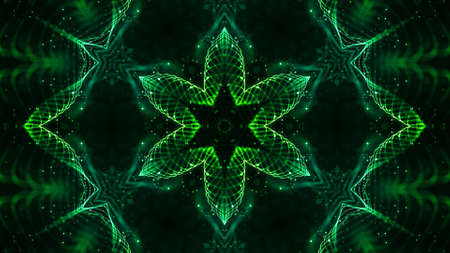 3d render. Green motion design background with symmetrical star pattern. Abstract sci-fi bg with glow particles form curved lines, surfaces, hologram or virtual digital space. Floral structure