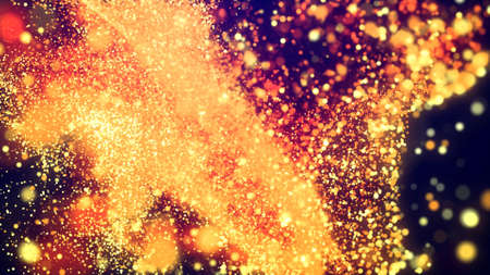 Abstract bg, golden magic glitters fly in air form beautiful swirls. Fiery sparkles float in viscous liquid. Sparkles in flow of turbulence force. 3d render
