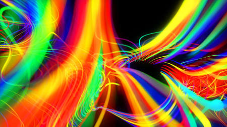 3d render. Abstract background flow of glow lines. Llights particles form in 3d space glowing beautiful curved lines like ball of wires burning with neon light. Beautiful creative background.
