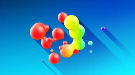 3d render. Spheres or balls merge like liquid wax drops or metaballs in-air. Liquid gradient of rainbow colors on beautiful drops with glow, scattering light inside and long shadows.