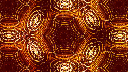 3d render. Gold motion design background with symmetrical pattern. Abstract sci-fi bg with glow particles form curved lines, surfaces, hologram or virtual digital space. Triangular structure