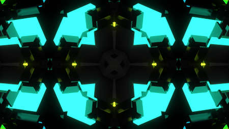 3d render. Science fiction cyberpunk bg with mechanism and neon light. 4k dark background with abstract symmetrical mechanism and neon light. Stockfoto
