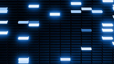 3d render. 3d abstract geometric creative dark background, black columns flashing blue neon light randomly. Cartoon style. Stockfoto