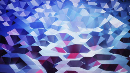 stylish creative abstract low poly background. Abstract waves on glossy surface. Simple minimalistic geometric bg. Blue gradient color. 3d render Stockfoto