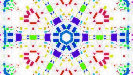 3d render. Abstract white science fiction background. Symmetrical geometric pattern like mandala with multi-colored inserts on matt white glass. Pattern like sci-fi sketch. Creative design bg.