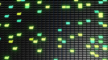 3d render. 3d abstract simple geometric background with green yellow rectangles on plane with flashing multicolor neon light. Creative simple motion design background with 3d objects