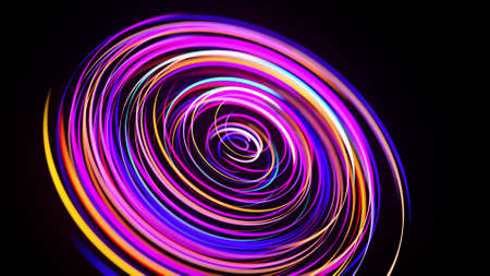 Motion graphics, sci-fi bg. Stream of multicolor neon lines form spiral shape, curls and pattern. Abstract background with light trails, Modern trendy motion design bg. Light flow bg. 3d render Stockfoto