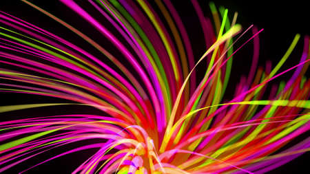 3d render. Light flow bg. Abstract background with light trails, stream of green red yellow neon lines form spiral shapes. Modern trendy motion design background light effect.
