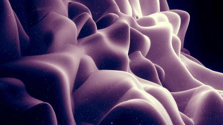 3d render. Abstract waves of soft black matte material with light inner glow and glitters on surface. Abstract geometric surface like landscape or terrain, extrude or displace 3d noise. Stockfoto