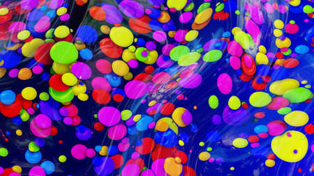 abstract background of shiny glossy surface like wavy blue liquid with rainbow color circles like drops of paint in oil. Beautiful creative background with color gradient. 3d render