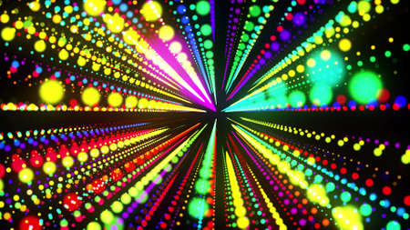 abstract 3d background with glowing particles lined up in rows in 3d space. Festive bg with multicolored particles. Motion design background. 3d render