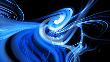 3d render. Visualization of neural network operation bg. Abstract lines of light streaks in air. Stream of lines forms curled blue lines like glow light trails. Swirling pattern like curle noise.
