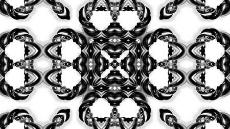 3d render. Black and white stripes are twisted forming complex symmetrical structures like ornament pattern or kaleidoscope Stockfoto