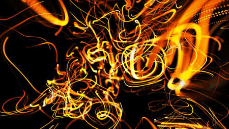 Beautiful curls. 3d render. Abstract beautiful background of glowing yellow flow of lines made of particles. Lines form abstract beautiful curls in space. Beautiful stream of bunch lines in motion.