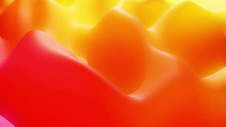Stylish abstract background, surface of soft translucent material like peach jelly. Creative soft bright 3d bg with inner glow for festive events. Red orange yellow gradient. 3d render