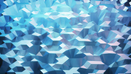 stylish blue creative abstract low poly background. Abstract waves on glossy surface. Simple minimalistic geometric bg. 3d render