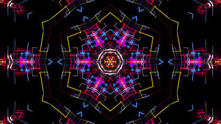 3d render. Abstract laser show. 4k abstract bg with pattern of glow multicolor lines. Pattern like flower, star or mandala of glow curved lines. Kaleidoscopic simmetrical structure with lines