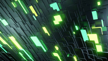 3d render. Simple geometric background with black plates flashing like green yellow neon lights. Creative colorful background.