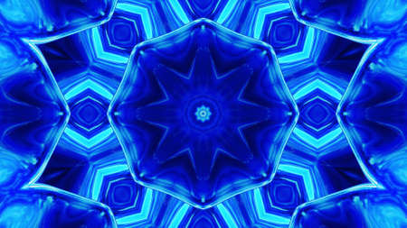 3d render. Stylish 3D abstract bg with wavy structure. Liquid blue symmetrical pattern like kaleidoscope with waves of brilliant liquid glass with beautiful gradient colors. Stockfoto