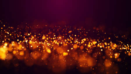 Golden red glow particles flicker and float in viscous liquid with amazing bokeh. Fantastic background. Gold magical sparkles of light form abstract structures. 3d render