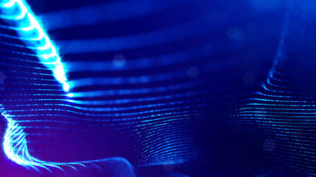 3d rendering background of microworld or sci-fi theme with glowing particles form curved lines, 3d surfaces, grid structures with depth of field, bokeh. Deep blue wave forms Stockfoto