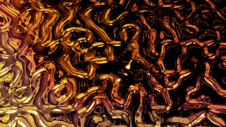 Abstract background with wavy sparkling golden liquid pattern on shiny glossy surface. Viscous yellow fluid like surface of gold foil or brilliant glass. Beautiful creative festive backdrop. 3d render