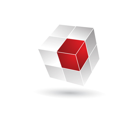 business solution: Cube puzzle in 3d effect