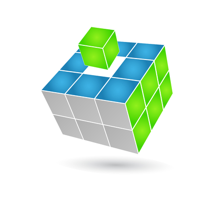 construction management: Cubo puzzle in effetto 3d