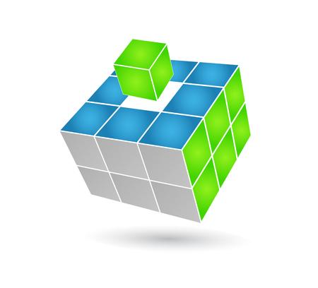 Kubus puzzel in 3d effect  Vector Illustratie