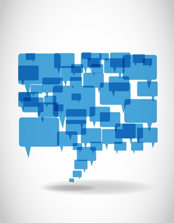 word bubble: Abstract big blue speech bubble