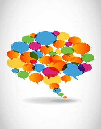 Burbuja abstracto discurso colorido Ilustración de vector
