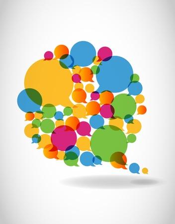 voices: Hable con los colores discurso burbujas de medios de comunicaci�n social Vectores