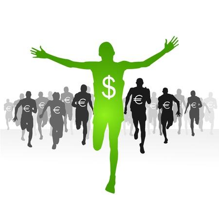 athletic symbol: Dollar-Finishing line