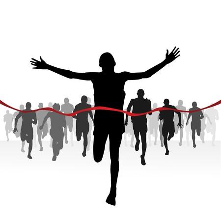 d�part course: Les coureurs de marathon-Finition ligne