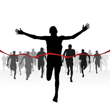 marathon: Marathon runners-Finishing line Illustration