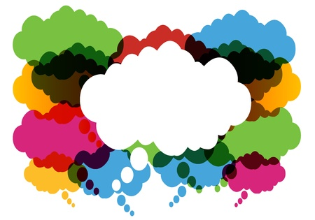 Colorful Thought And Speech Bubbles Vector