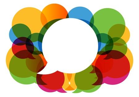 communicate: burbujas de di�logo de colores vector.