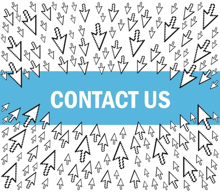 pointing arrows: contact us
