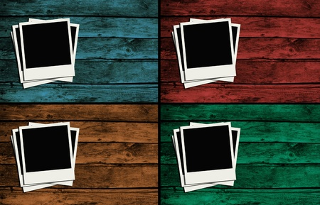 polaroid frames over colorful wooden walls_2 photo