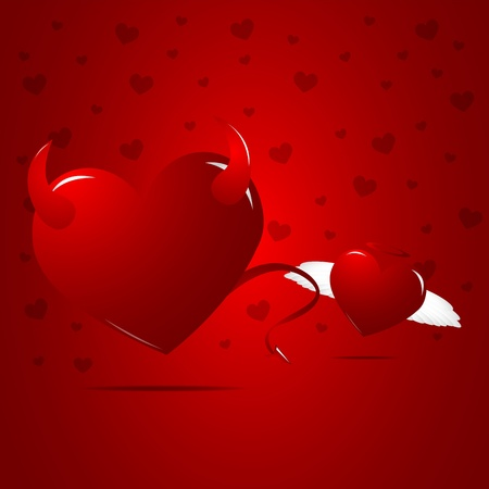 Evil and angel hearts Vector