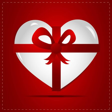 Heart Gift, Ribbon Vector