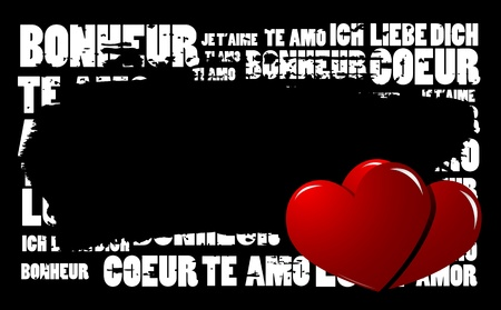 vector hearts: Grunge Love word cloud vector background with hearts