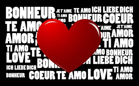 Love word cloud with heart symbol Vector