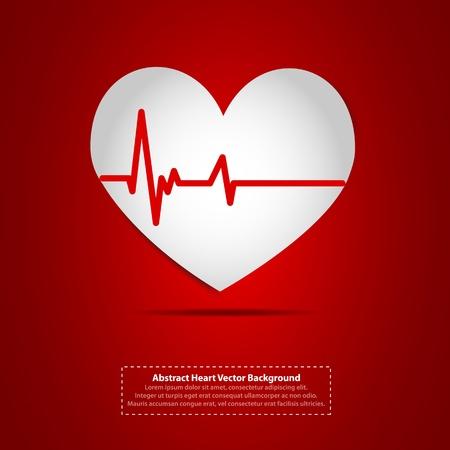 coeur sant�: Coeur avec le symbole de rythme cardiaque Illustration