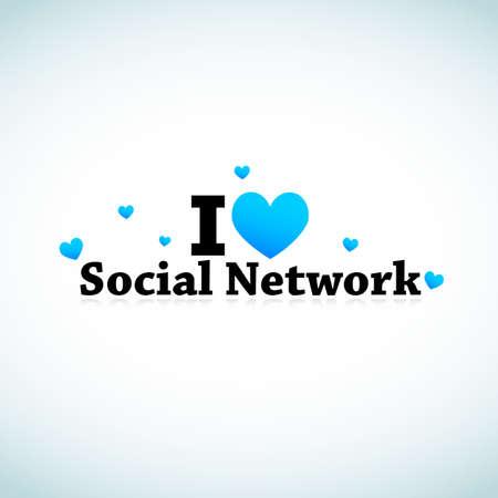 I Love Social Media Network Vector