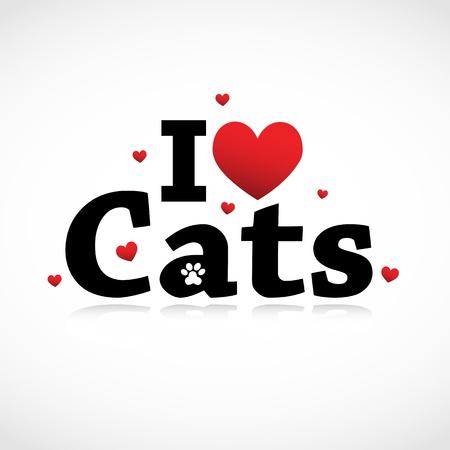silueta de gato: Me encanta icono de los gatos. Vectores
